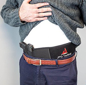 Belly Band Holster For Concealed Carry by JPG TACTICAL Adjustiable Neoprene Men/Women For Pistols One Size Fits Most Velcro Right Hand Form Fitting (Form Holster Fitting)