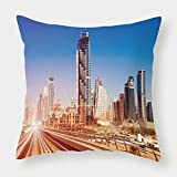 iPrint Cotton Linen Throw Pillow Cushion Cover,Urban,Modern Subway Line in Dubai Tracks Skyscrapers Futuristic View Commercial,Light Brown Blue White,Decorative Square Accent Pillow Case