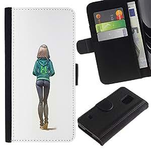 Be Good Phone Accessory // Caso del tirón Billetera de Cuero Titular de la tarjeta Carcasa Funda de Protección para Samsung Galaxy S5 V SM-G900 // sexy butt girl white college woman