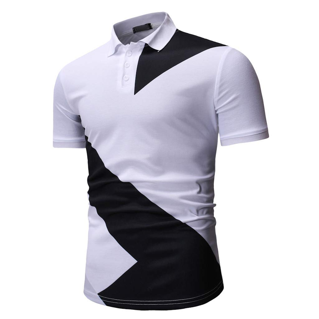 Mens Polo Shirt GREFER Clearance Buttons Design Half Cardigans Short Sleeve Patchwork Tops
