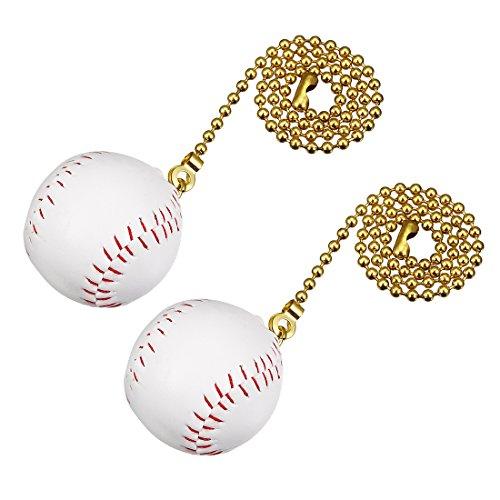 uxcell 12 inch Copper Pull Chain White Baseball Pendant for Ceiling Lighting Fans Pack of 2 (Baseball Ceiling Fan Pull)