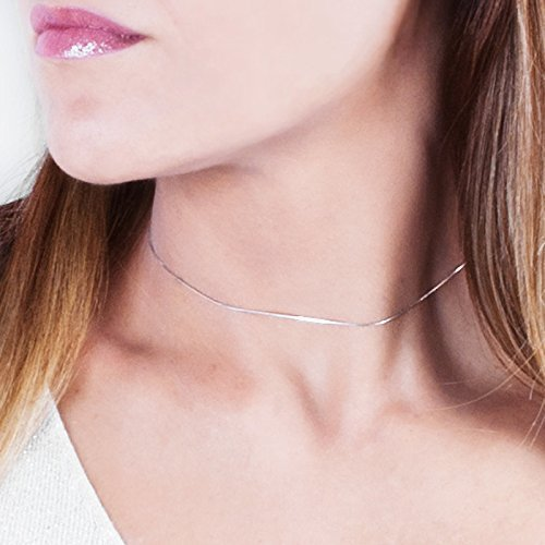 (Sterling Silver Sparkle Choker Necklace - Designer Handmade Ultra Thin Collar Chain 13.5 + 3 inches)