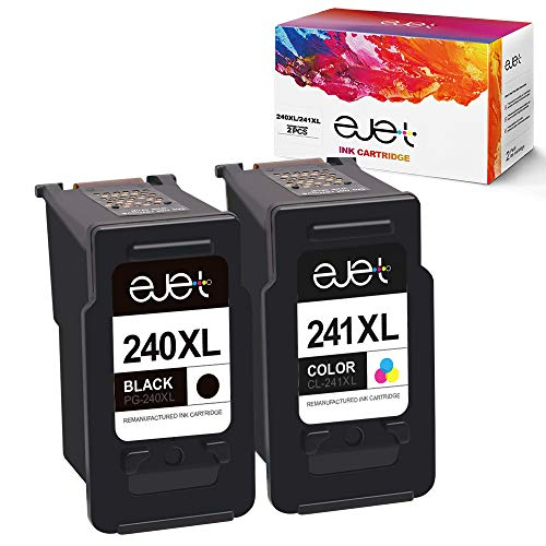 ejet Remanufactured Ink Cartridge Replacement for Canon PG-240XL CL-241XL 240 XL 241 XL for Pixma MG3620 TS5120 MG2120 MG3520 MX452 MX512 MX532 MX472 High Capacity Ink (1 Black, 1 Color, 2 Pack) (Canon Ink Cartridges Pixma)