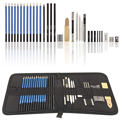 Graphite Drawing Pencils and Sketch Set (33-Piece Kit), Complete Artist Kit Includes Charcoals, Pastels and Zippered Carry Case