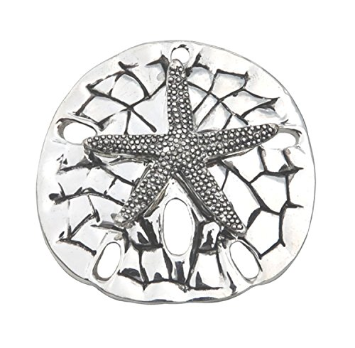Lg. Silver Textured Sand Dollar Starfish Pendant Slide/Brooch- Sea Life Beach Fashion Jewelry -