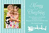 30 Christmas Family Kids Photo Card Santa Sleigh Blue Sparkles Greeting Personalized Cards Photo Paper