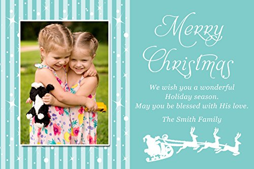 30 Christmas Family Kids Photo Card Santa Sleigh Blue Sparkles Greeting Personalized Cards Photo Paper Picture