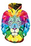 Haloon Women's Simulation 3d Printing Hip Hop Drawstring Hoodieds Colorful Lion M