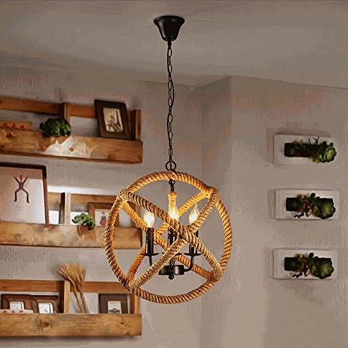 JINGUO Lighting Adjustable Hemp Rope Globe Pendant Lights Ceiling ...