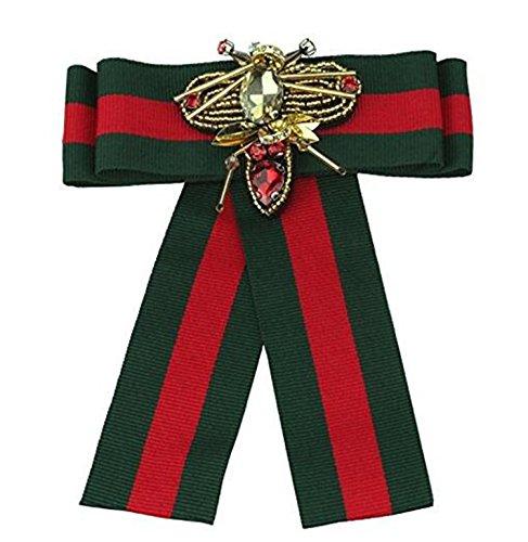Ribbon Crystal Men/Women Pre-Tied Neck Tie Brooch Pin Bow Tie Patriotic Collar Jewelry Gift (Green)