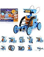 RCSpaceX STEM Projects 12 in 1 Solar Robot Toys for Kids, 190 Pieces Solar and Cell Powered Dual Drive Motor DIY Building Science Learning Educational Experiment Kit, Gift for Teens Boys Girls Aged 8-12