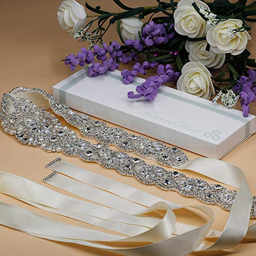 ForeverBird Long Rhinestone Wedding Belt Crystal Sash Belts for Bridal Bridesmaid Gowns Dresses (Silver,Ivory Ribbon)