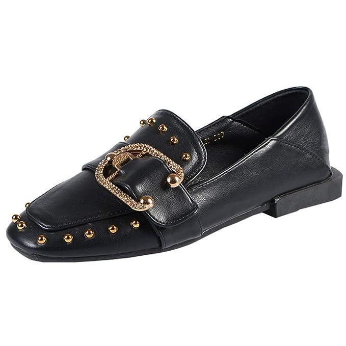 Remaches Pisos Zapatos Mocasines Retro Zapatos De Guisantes Zapatos Casuales Zapatos Perezosos Oficina Mocasines Mary Jane: Amazon.es: Ropa y accesorios
