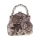 Covelin Women's Vintage Clutch Handbag Flower Beaded Evening Tote Bag Hot Black
