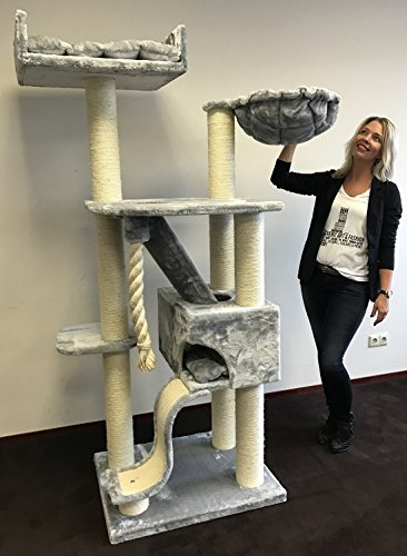 RHRQuality kratzbaum Grosse Katzen stabil XXL Kilimandjaro de Luxe Hell grau katzenkratzbaum für Maine Coon große…