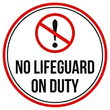 No Lifeguard On Duty Swimming Pool Spa Warning Round Sign, Metal - 9 Inch