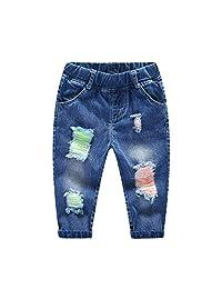 Kidscool Little & Baby Boys/Girls Elastic Waist Colorful Ripped Denim Pants Jeans