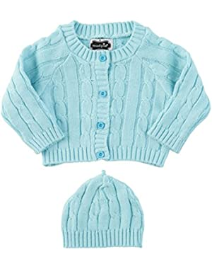 Baby-Boys Newborn Light Blue Cable Knit Sweater & Hat (0-6 Months)