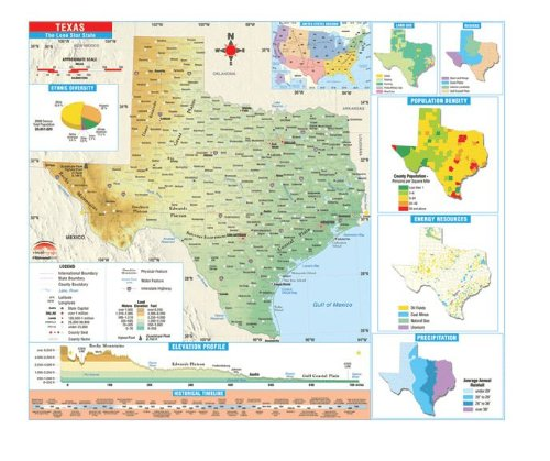 Texas State Intermediate Thematic Wall Map on Roller w/ Backboard by Universal Maps