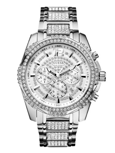 GUESS-Mens-U0291G1-Sporty-Silver-Tone-Stainless-Steel-Watch-with-Chronograph-Dial-and-Deployment-Buckle