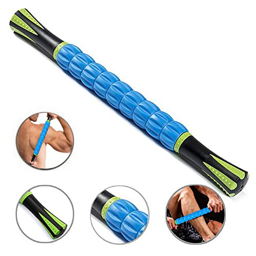 THINK SOGOOD Muscle Roller Stick,17.7″ Massage Tools with 9 Rollers and Anti Slip Handle for Athletes Releasing Pressure Points,Reducing Muscle Soreness,Soothing Cramps and Relieving Muscle Pain(Blue)