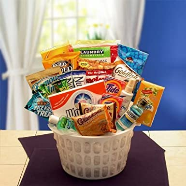 Away From Home Snacks and Essentials Care Package in Mini Laundry Gift Basket by Gift Basket Dropshipping: Amazon.co.uk: Grocery