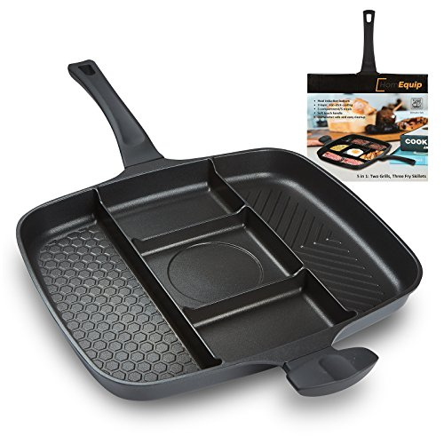 Heavy Duty Aluminum Fry Pan (5 in 1 Divided Sectional Grill Pan – Non Stick Aluminum Frying SKillet – Double Handles – Induction, Electric and Fire Stove Safe – Dishwasher Safe - by HomEquip)