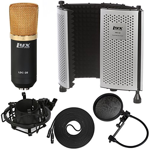 LyxPro Kit: Large Diaphragm Cardioid Condenser Microphone, Sound Absorbing Panel, Pop Filter, Shockmount, Cable, Windscreen, Case