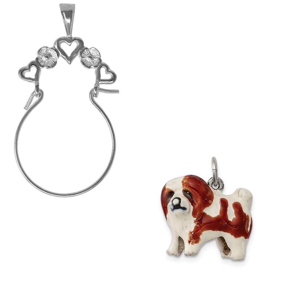 Mireval Sterling Silver Enameled Coton De Tulear Charm on an Optional Charm Holder