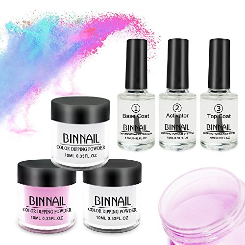 BINNAIL French Dip Nails Powder no Lamp Cure Fast Dry Nail Dipping Powder Starter Kit with Base,Top and Activator