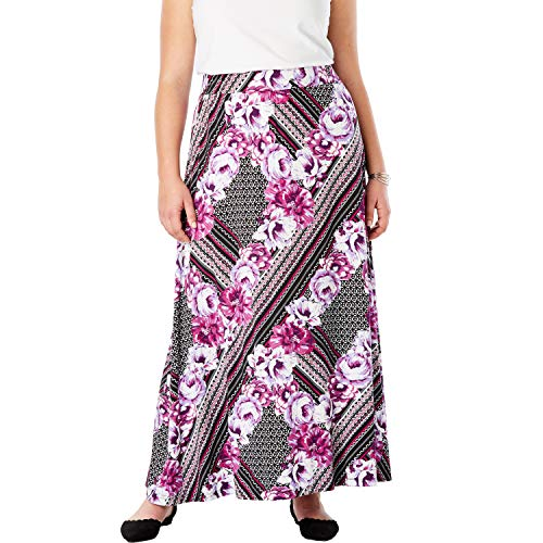 Jessica London Women's Plus Size Everyday Knit Maxi Skirt - Berry Scarf Print, 22/24
