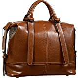 Yaluxe Women's Vintage Style Hot Sell Leather Top Handle Cross Body Shoulder Bag Brown