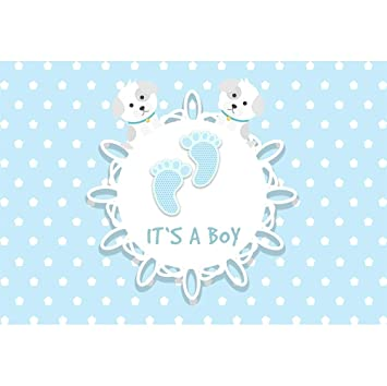Dorcev 6x4ft Its A Boy Photography Backdrop Gender Reveal Party Boys Baby Shower Party Background Cartoon Dog Footprint White Dot Party Banner