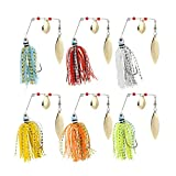 Naler 6pcs Artificial Fishing Lures, Spinner Bait Lures Hook Fishing Tackle Sharp Hooks