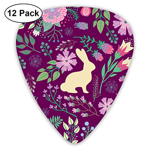 (Easter Bunnies On Raspberry Spring Floral Small Medium Large 0.46 0.73 0.96mm Mini Flex Assortment Plastic Top Classic Rock Electric Acoustic Guitar Pick Accessories Variety Pack)