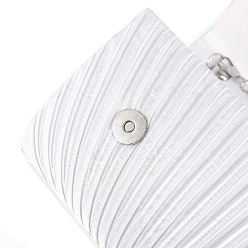 Handbag Bag Shoulder Satin Evening Prom Pleated Bag Women Clutch Anladia Diamante White Bridal xwPaRBxU