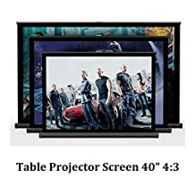 NIERBO 40 inches 4:3 Table Screen,Micro Pico LED Projector Screen,Portable Screen Easy to Carry for Private Cinema,Meeting