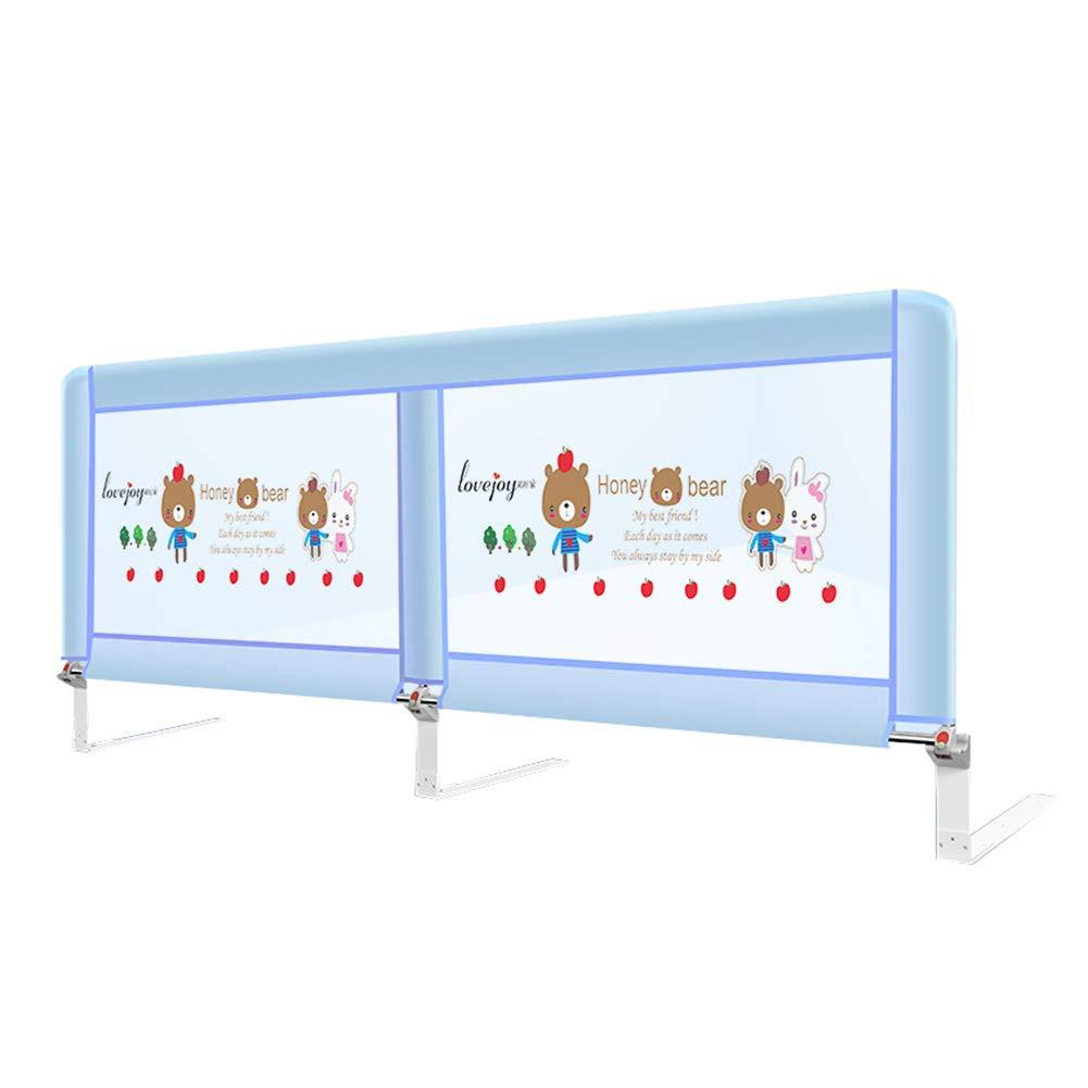 ベッドフェンス- ベビーベッドの幼児用ベッドレイルガード、スイングダウンエクストラロング2mベッドレール、強化アンカー安全、82cmの高さ (色 : 青, サイズ さいず : 200cm length) 200cm length 青 B07JK4SDQB