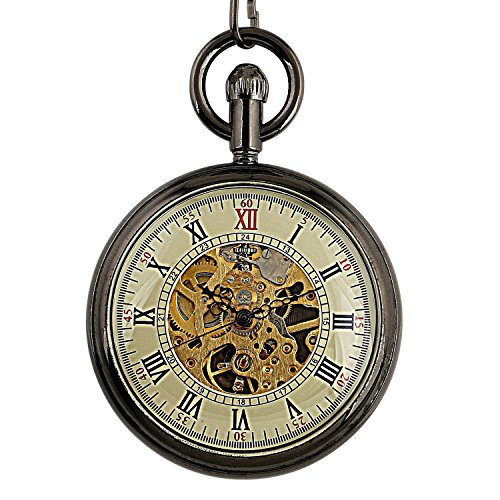Carrie Hughes Vintage Steampunk Open face Skeleton Mechanical Pocket watch with Chain for Men Woman