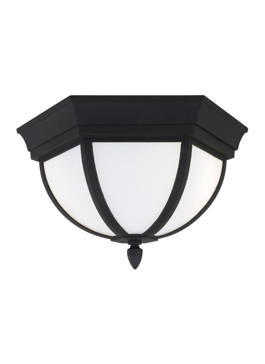 Sea Gull 79136-12 Wynfield Outdoor Ceiling Flush Mount, 2-Light 120 Total Watts, Black