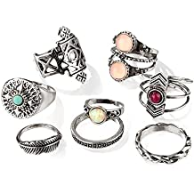 Hanloud Vintage Knuckle Rings Set Multi Cactus Crystal Crown Elephant Animal Stacking Rings 8/12/13 Pack