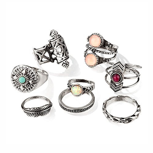 Hanloud Vintage Gothic Crystal Knuckle Ring Set Retro Silver Peach Opal Crystal Stacking Rings Summer Costume Jewelry