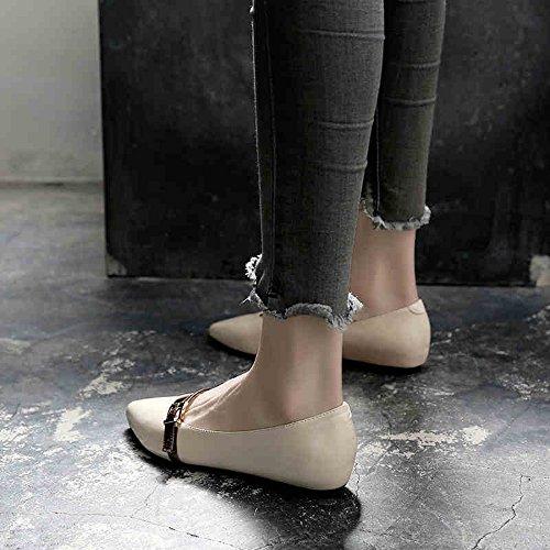5 Beige Carrière Chaussures Toe Noir Taille Eu36 Fufu Flats bureau Pour uk3 cn35 Talon 1cm Le jaune Et décontracté Pointe Jaune couleur beige Extérieur Femmes S5AwPBxwnq