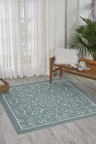 """Nourison Home & Garden (RS019) Light Blue Rectangle Area Rug, 5-Feet 3-Inches by 7-Feet 5-Inches (5'3"""" x 7'5"""") from Nourison"""