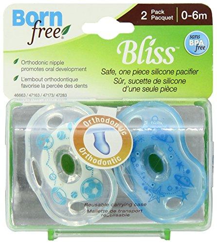 Born Free 1646663A Chupete Ortodóntico, 2 Unidades, 0-6 Meses, Bliss, color azul