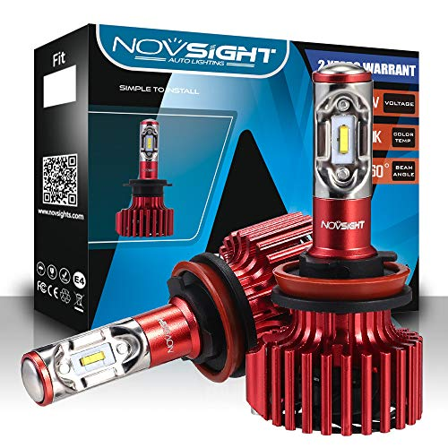 NOVSIGHT H11/H8/H9 LED Headlight Bulbs TX SMD LED Chips All-in-One Conversion Kit 6500K Cool White 60W(30Wx2) 10000LM(5000LMx2) 2 Year Warranty