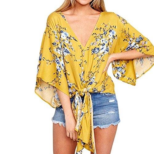 - Women Floral V-Neck Dolman Half Sleeve Shirt Front Bandage Bow Baggy Kimono Top(Yellow,medium)
