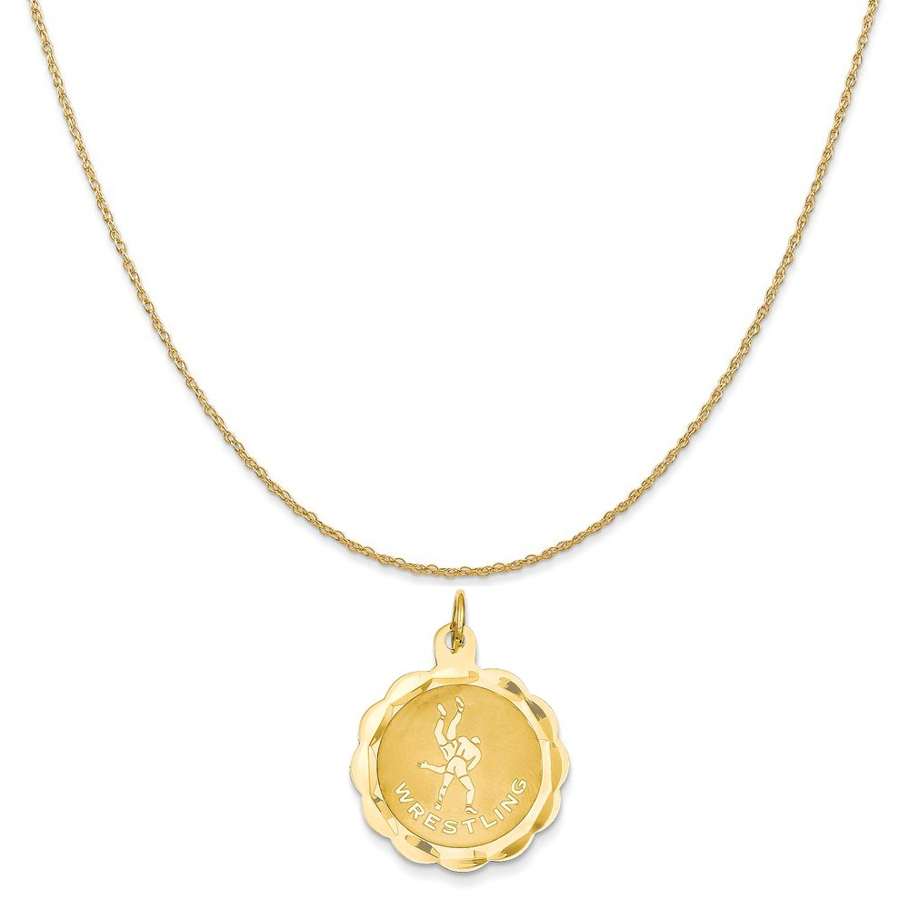 14k Yellow Gold Wrestling Disc Charm on a 14K Yellow Gold Rope Chain Necklace, 16'' by Mireval