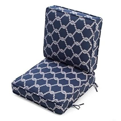 Bon Premium Furniture Outdoor Patio Cushions, Chair,Hinged, Nautical Knots, Blue