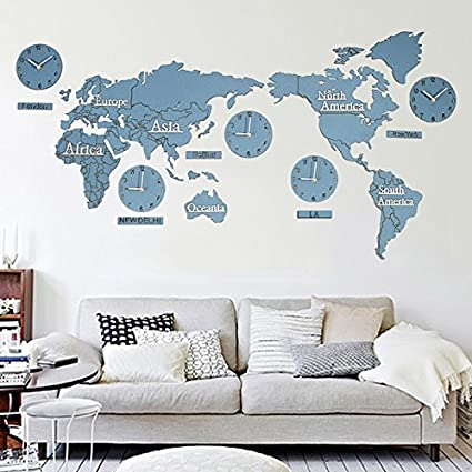 Amazon y hui the world map wall clock living room silent clock y hui the world map wall clock living room silent clock tv background wall decor gumiabroncs Images